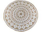 Rug braided jute natural with print white Mandala 200 cm
