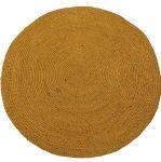 Rug braided jute ocher yellow round 150cm