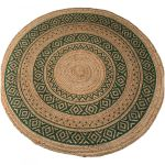 Rug braided jute print green round ø150cm