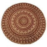 Rug braided jute with print in henna red ø150cm