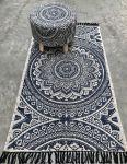 Rug cotton with white indigo print 90x150cm