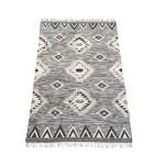 Rug handwoven wool graphic black/white 160x230cm