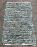 Rug recycled leather seablue and jute 200x300cm