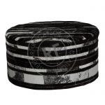 Stool Leather 70x70x35cm Black/Silver