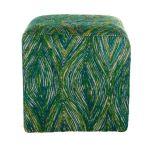 Poef zijde recycled pauwkleuren/wit 40x40x40cm
