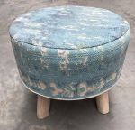 Stool with top in cotton printing seablue and 4 wooden legs ø50hg40cm