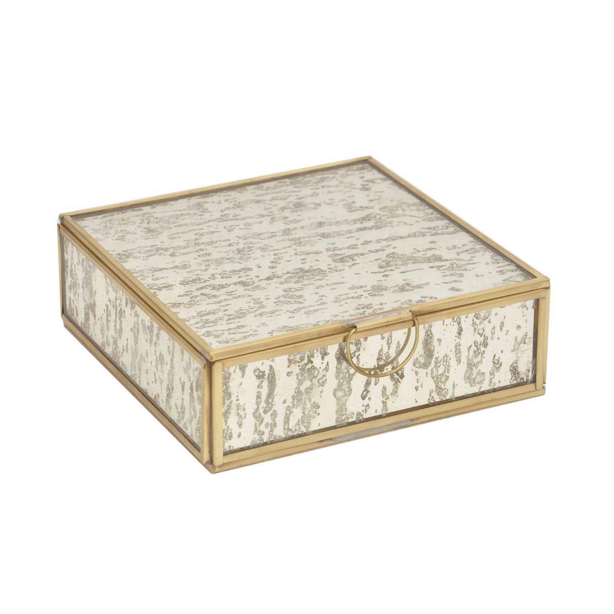 storagebox machined mirrorglass brass shade square 16x16x5cm