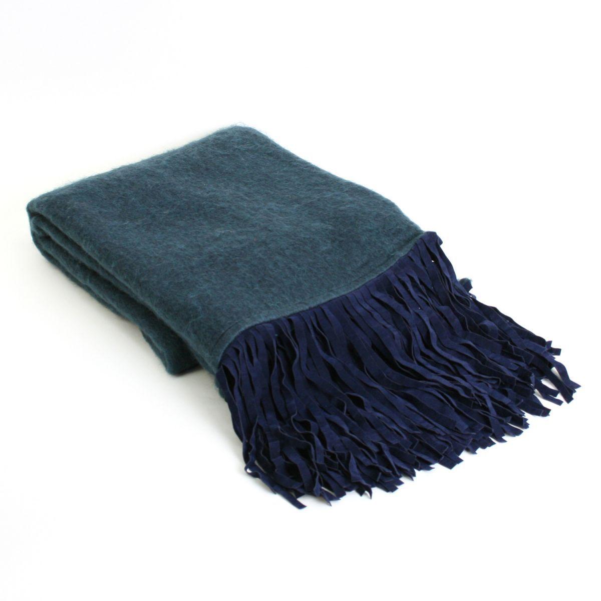 throw wool suede fringes royal blue 130x170cm