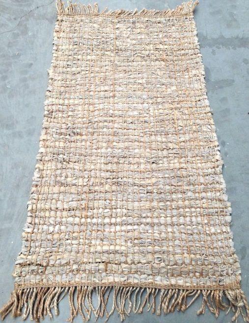 vloerkleed beige leer met jute 80x140cm