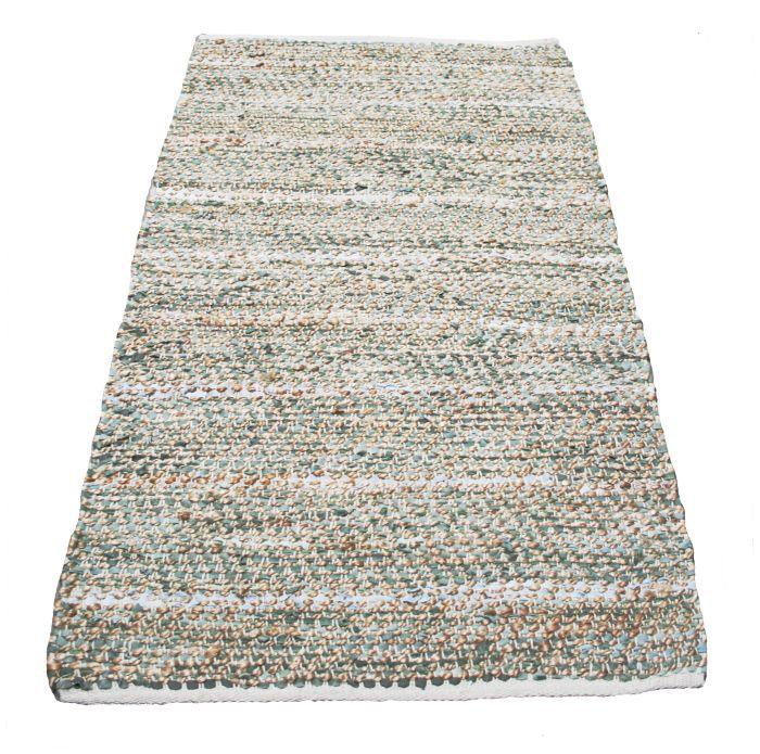 kleed leer jute geweven salie groen 80x140cm