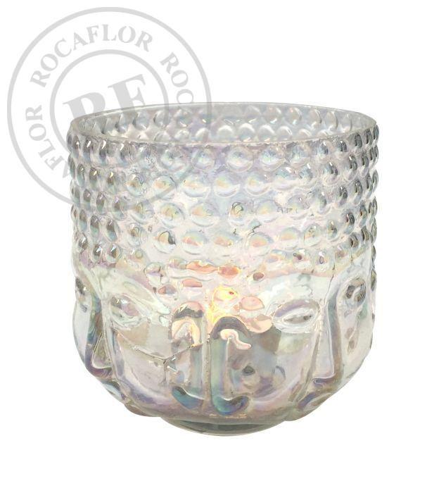 waxinehouder glas boeddha transparant hg 10 10 cm